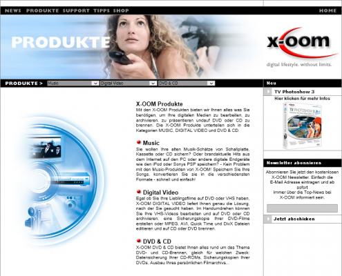 X-oom - Dreamweaver Webdesign Düsseldorf