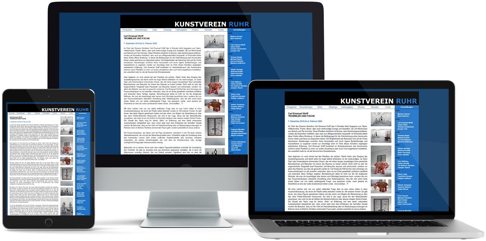 Dreamweaver Webdesign: Kunstverein Ruhr e.V.