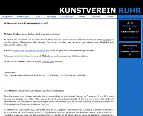 Kunstverein Ruhr - Dreamweaver Webdesign Düsseldorf