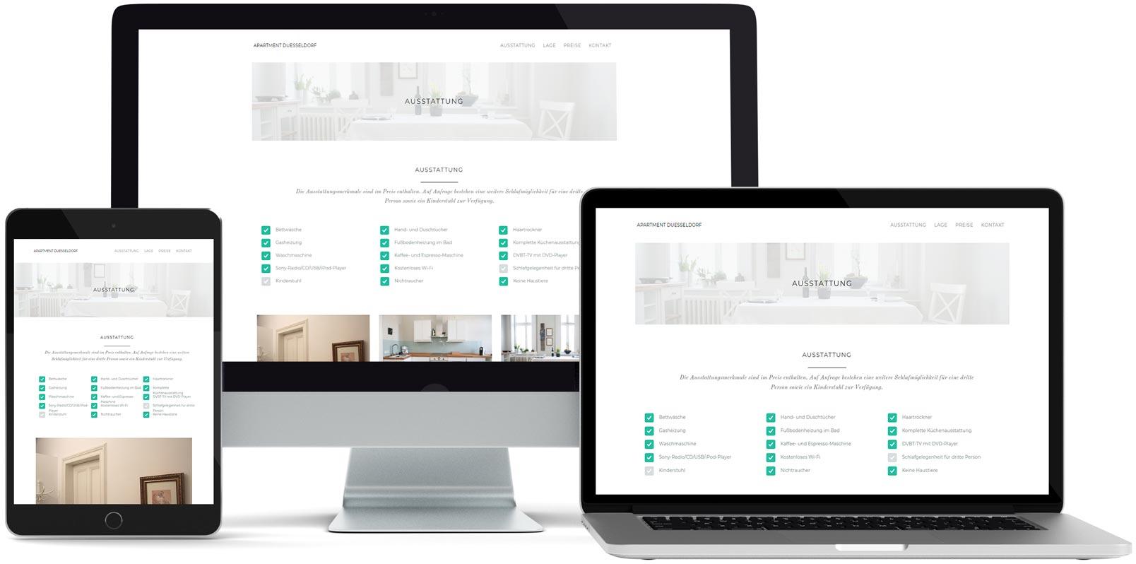 WordPress Webdesign: Apartment Düsseldorf