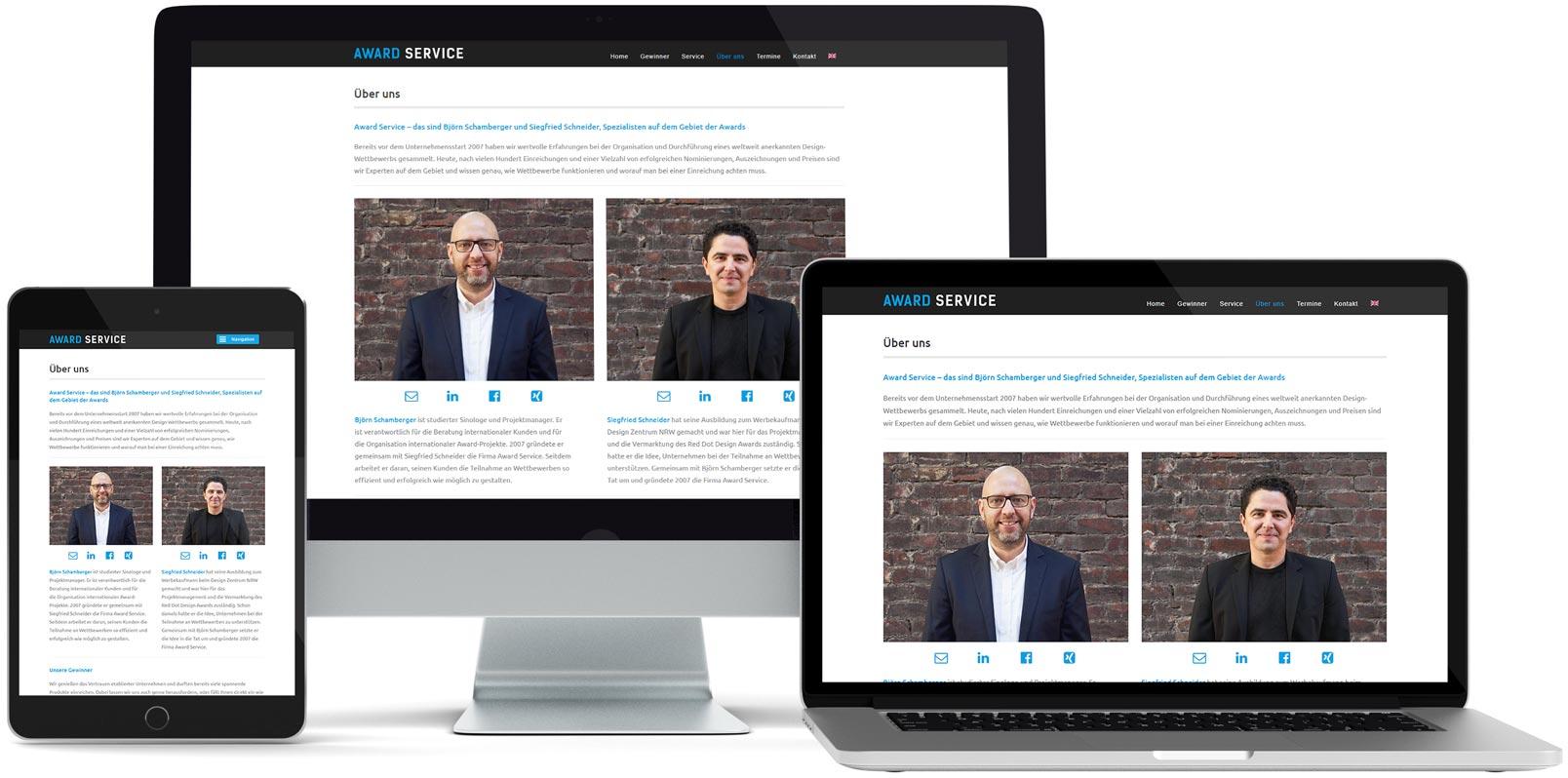 WordPress Webdesign: Award Service