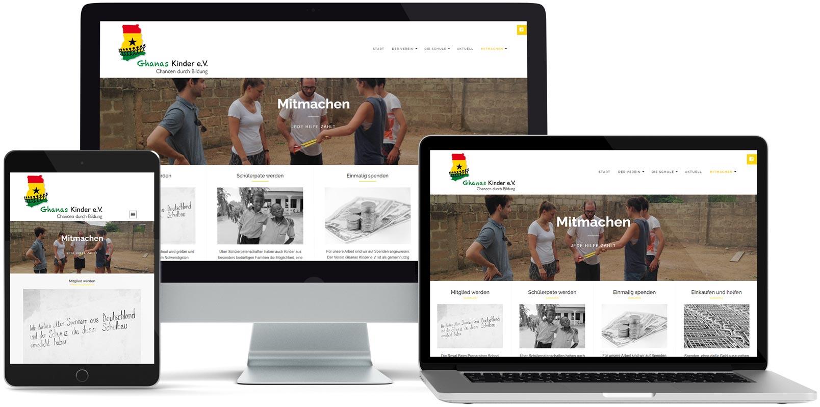WordPress Webdesign: Ghanas Kinder e. V.